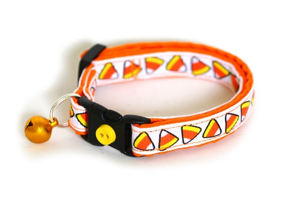 Cat Collar - Candy Corn on White - Small Cat / Kitten Size