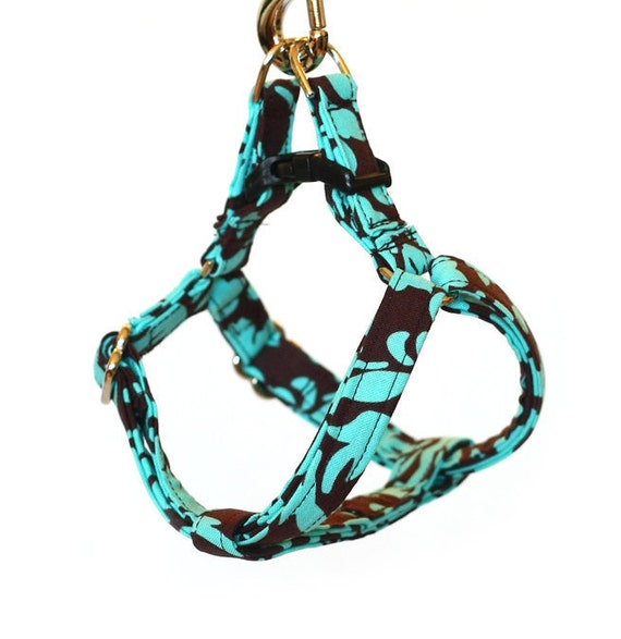 Small Step In Dog Harness - Turquoise and Brown Floral Damask