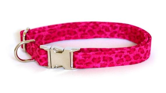 Dog Collar - Pink Leopard Print - Medium Dog Collar