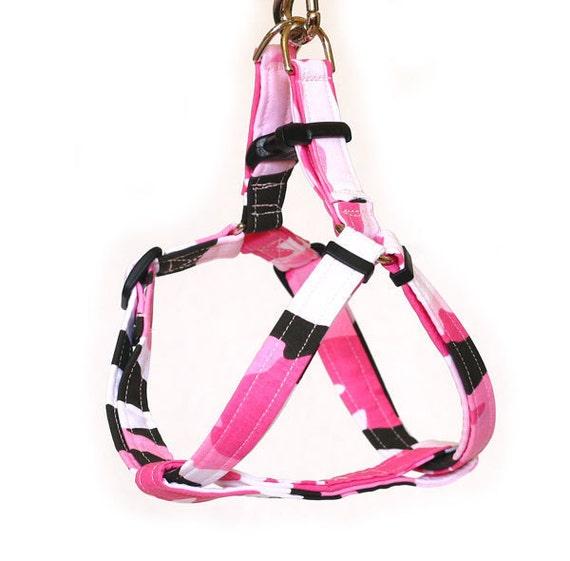 Medium Step In Dog Harness - Pink Camo