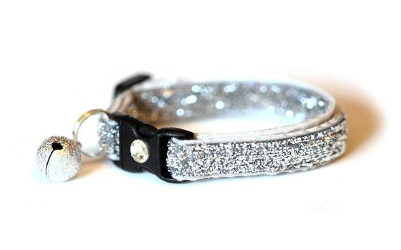 Glitter Cat Collar - Sparkling Silver - Kitten / Small Cat Size
