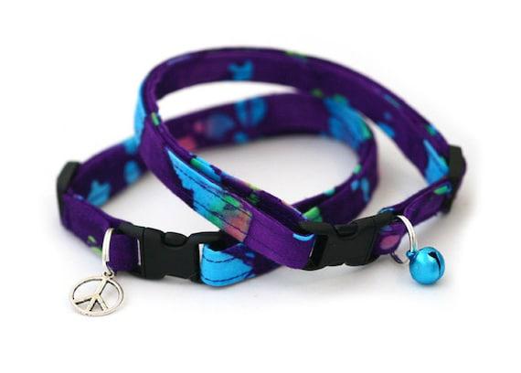 Safety Cat Collar - Purple and Blue Batik - Breakaway Cat Collar