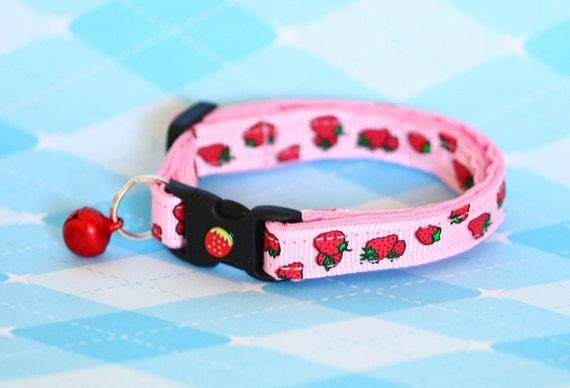 Cat Collar - Strawberries on Pink - Small Cat / Kitten Size