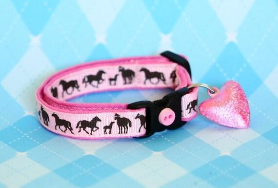 Cat Collar - Horses on Pink - Small Cat / Kitten Size