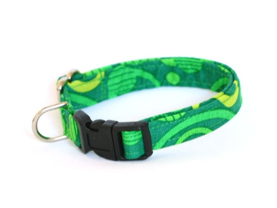 Dog Collar - Green Circles  -Small Dog Collar
