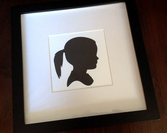 Custom Silhouette Portrait - Childrens Silhouette Print Black and White