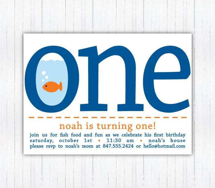Fish FIRST Birthday Party Invitations
