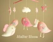 "Baby crib mobile, Bird mobile, girl mobile ""Bird - baby pink"""