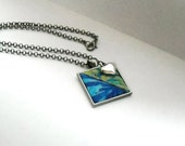 Aqua Blue Fabric Necklace Quilt Antique Silver Green Jewelry Black Square Pendant Fashion