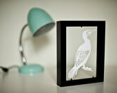 CORMORANT paper cut / with frame / black & white