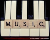 The Love of Music - Scrabble letters on Piano - 11x14 fine art print