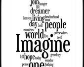 Imagine Lyrics - John Lennon - Word Art Woodblock Print - Gift Idea