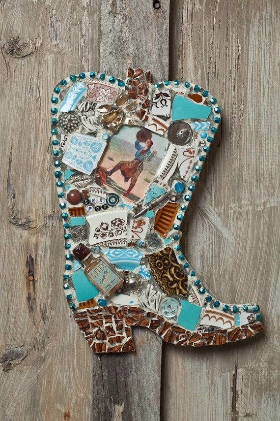 Sex Pot Confident Cowgirl Mosaic Cowboy Boot Mosaic Art-6220