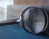Vintage 60s Magnifying Glass with Chrome Edging and Solid Wood Handle includes Original Box