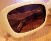 White Italian Sunglasses Vintage 1970s Mod Style, Slight Purple Tinted Lenses