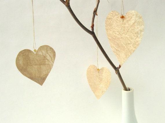 3 small Silk Fusion Hanging Hearts natural tussah silk, home decor