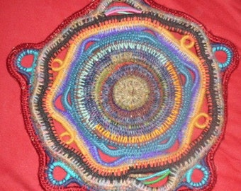 Colorful Eco-Friendly Upcycled Sculptural wall decor mandala or centerpiece flat basket 3d
