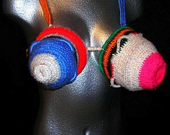 Yarn coiled sculpture Unwearable Object bra like art piece basket vessel