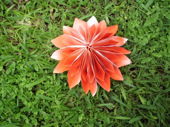 1 Large Origami Dahlia Flower In Any color you Choose Great for Weddings and more.