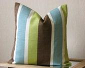 Throw pillow cover - 18x18 pillow cover - Eastern stripe pistachio - green blue brown white