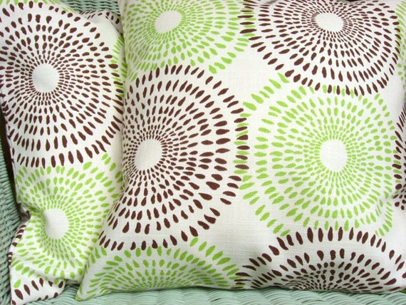 Green and Brown Pillow Cover 18 Inch Green Cushion Cover Brown Pillow Sham - Sunburst Chocolate