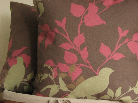 Brown and Rose Pillow cover - 18x18 Cushion Cover Pillow Sham - Doves Chocolate