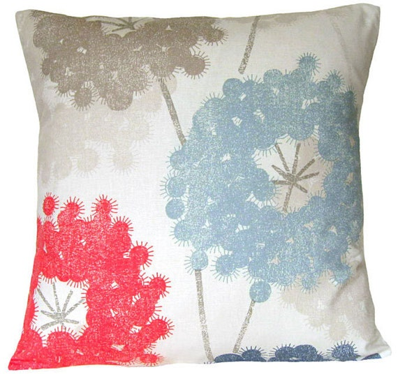 Dandelions red, blue, dusty blue, taupe, 16 inch pillow cover, cushion cover, decorative pillow, throw pillow, designer pillow, toss pillow