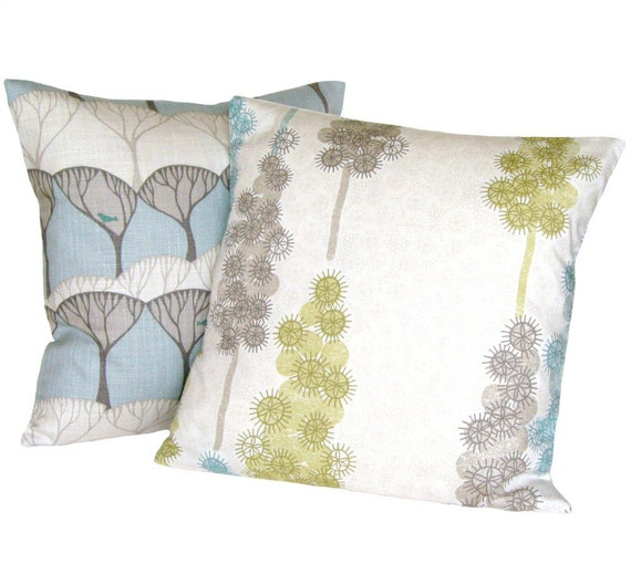 Blue, green, grey and white abstract floral pillow cover 16x16 - Delphiniums wedgewood