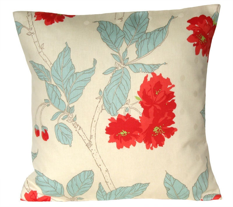 Throw pillow cover 16x16 pillow cover Malus red by CoupleHome