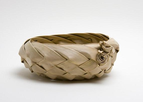Basket - Palm Frond, Rosettes, Vintage