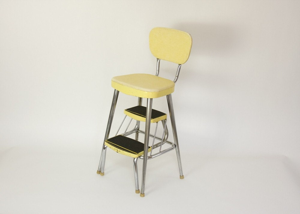 mid century yellow kitchen chair and step stool