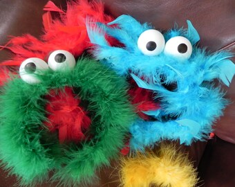 Sesame Street  Inspired Party headbands-Furry Monster Elmo and Cookie inspired  Hairbands