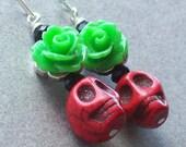 Rockabilly Rose and Red Sugar Skull earrings