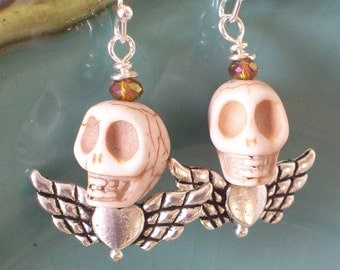 Day of the Dead Sugar Skull Angel earrings