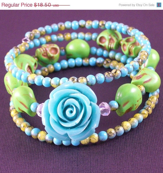 ON SALE Day of the Dead Rose and Sugar Skull Memory Wire Bracelet