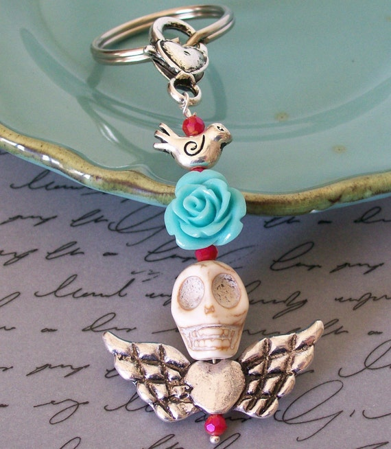 Frida Sugar Skull Pendant Keychain Rockabilly Rose and White Skull Pendant keychain