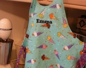 ON SALE  - Girls Apron with Ice Cream Cone Print  - Personalized   'EMMA'  - size Large fits 4T to 6