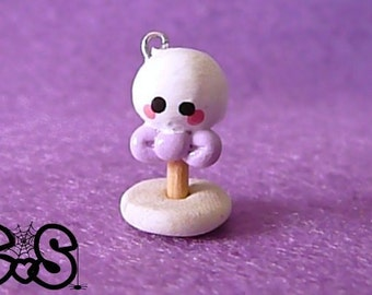 Halloween Ghost Cake Pop Charm with Purple Bow - NEW LOW PRICE!