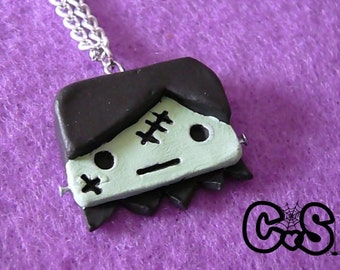 Frankenstein Monster Boy Necklace - Green Monster with Face Stitches, Black Hair, and Neck Bolts - NEW LOW PRICE!