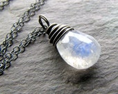 BLACK FRIDAY SALE 20% Off Rainbow Moonstone Necklace Pear Briolette Gemstone Oxidized Sterling Silver challenevi
