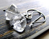 Rock Crystal Quartz Earrings, Trillion Pyramid Nugget Gemstones Oxidized Sterling Silver challenevi