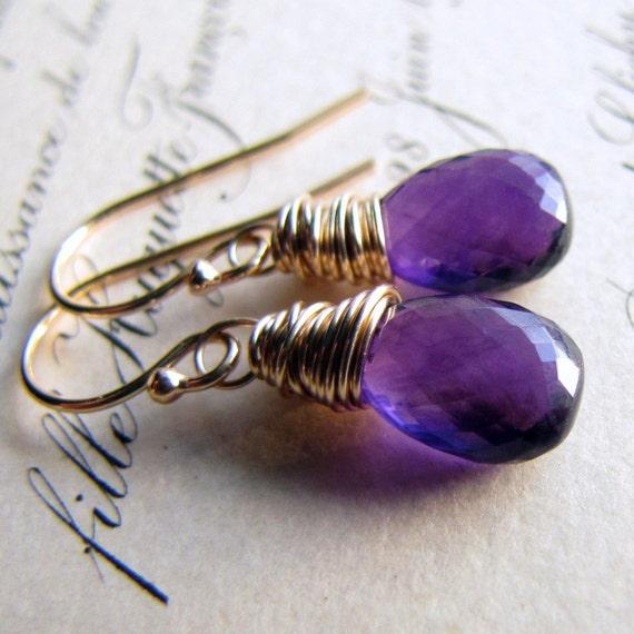 Amethyst Earrings Pear Briolette Gemstones 14K Gold Fill challenevi