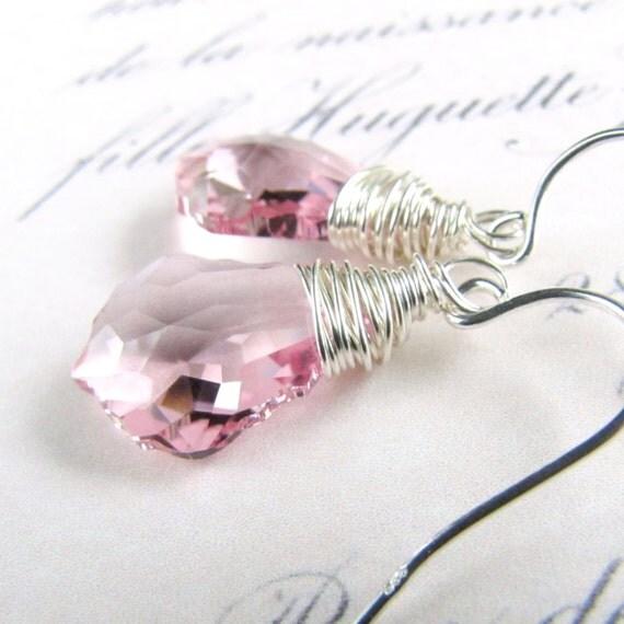 Swarovski Crystal Earrings, Light Rose Baroque Sterling Silver challenevi