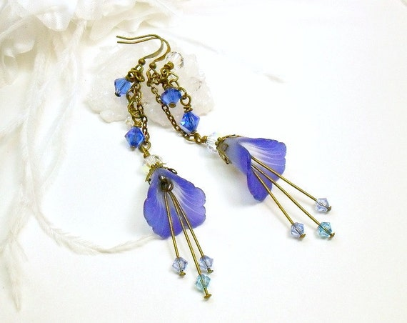 Blue Flower Earrings, Blue Lucite Earrings, Lucite Flower Earrings, Sapphire Earrings, Brass Earrings, Swarovski Crystals and Lucite Flowers