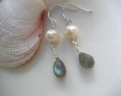 Cornish Coast drop earrings in labradorite