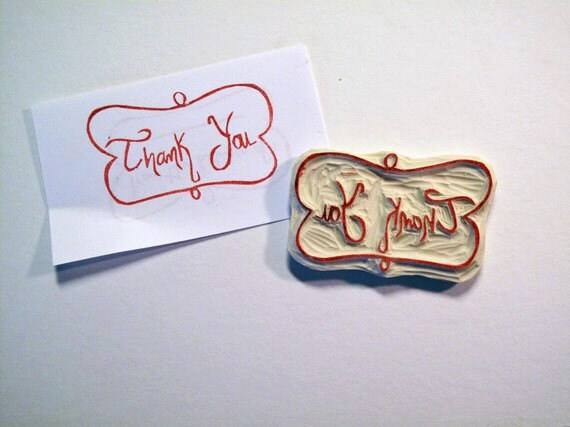 Thank You Rubber Stamp with Swirly Frame
