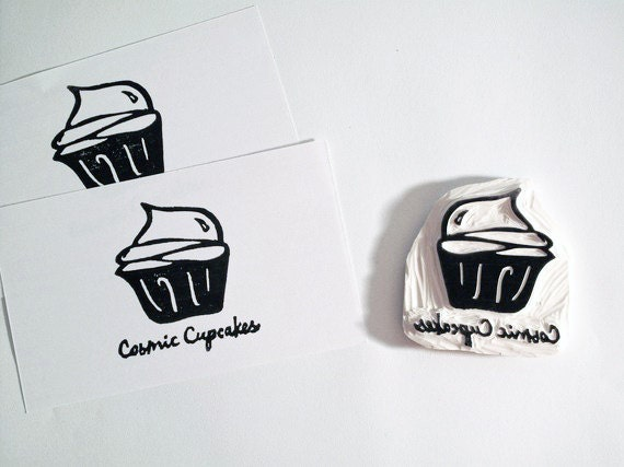 Hand-carved Rubber Stamp with Your Logo/Image . Logo Stamp . Unmounted . 2-3 Inches