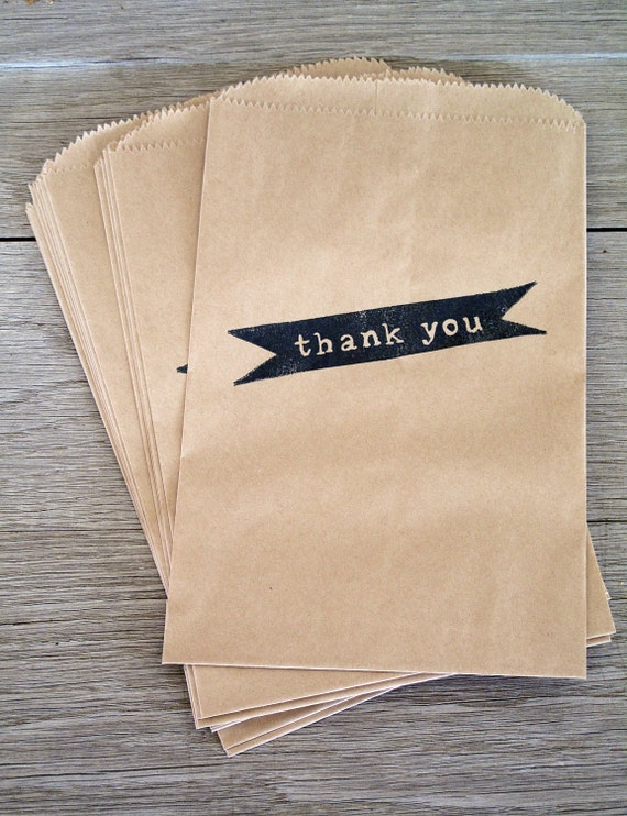 Kraft Paper Bags, Thank You, Set of 12 . Party Favor Bags