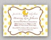 Yellow Polka Dots baby shower invitation DIY