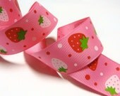 2 yards 7/8 inch Strawberries on Pink Printed Grosgrain Ribbon - High Quality
